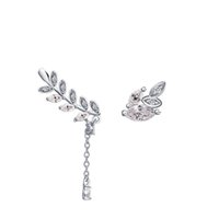 Cheap beautiful different size 2016 fashion genuine 925 sterling silver earrings long chain leaf earring designs for women birthday gift