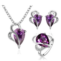 Wholesale Luxury white gold plated purple crystal jewelry sets High quality water drop pendant necklace rings earrings sets