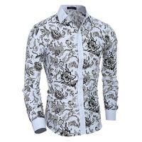 Diseño clásico de la impresión de la impresión del viento de las naciones de la alta calidad Camisa de los hombres del businesss Camisa delgada del ajuste Camisa de manga larga de los hombres 5114