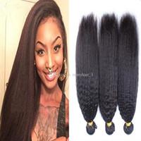 Wholesale 9A Malaysian Kinky Straight Hair Coarse Yaki Hair Wefts Natural Black Afro Kinky Straight Weave Italian Yaki Human Hair Bundles