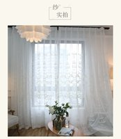 Wholesale luxury curtains tulle high quality white embroidery yarn curtain cross haircord modern rustic balcony yarn silk ployest flax with embroider