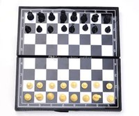 Wholesale 48pcs kid s gift Folding Champions Chess Set in Travel Magnetic Chess and Checkers Set Draughts