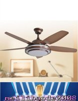 Wholesale led ceiling fans lights Classic style inches cm coffee red five blade ABS fans remote control indoor V V MYY