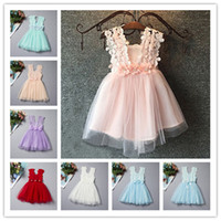 Wholesale 2016 New Hot Korean Lace Flower Children Dress Colors Crew Neck Casual Elegant Dresses For Girl Beautifull Cute Mini Bow Girl Dress