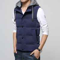 badge remove - 2016 New Fashion Men Cotton Vest With Removed Hat Cap Contraction band Winter Autumn Warm Zipper Sleeveless Jacket Coat For Male Normal