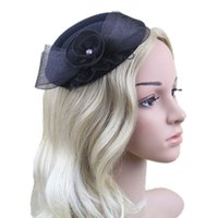 Wholesale 1pc Women Party Bowknot Veil Lace Faux Wool Party Hair Accessories Headwear Bridal Hats Chic and High Quality Black Color With Rhinestone
