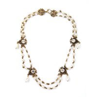 beaded station necklace - 2016 Multi Strands Beaded Pearl Choker Necklace Vintage Alloy Floral Station Necklaces for Lady