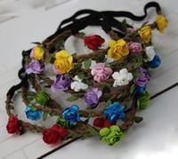 beach wig - 10PCS Hot Travel Beach Headwear Wedding Garlands Bridesmaid Bridal Headband Flower Crown Bohemia Head Red Flower Girl Hair Accessories LS059