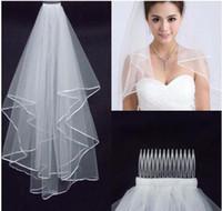 Voiles de mariage Voile de mariage nuptiale blanc dentelle de deux couches coulant accessoires de mariage gros voiles de mariage accessoires de mariage dentelle