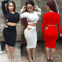 Wholesale Sexy Cut Out Skirts - New Arrival Sexy Two Pieces Dress Fashion Cut Out Long Sleeve Short Top and Pencil Skirt Sexy Bodycon Clubwear Dress WE70061