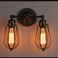 art material shop - Loft vintage wrought iron material wall lighting edison style wall lamp for coffee shop countryside room with two bulbs