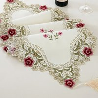 Wholesale 40x200cm Flower Embroidered Floral Fabric Dresser Table Runner Wedding Decoration