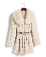 Wholesale 2016 New Fashion Faux Fur womens outwear comfortable slim warm long sleeve X long blet black white beige LJY378181179