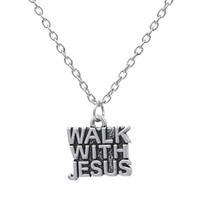 antique words - Word Walk With Jesus Charm Pendant Jesus Piece Christian Necklace Simple Style Antique Silver Plated