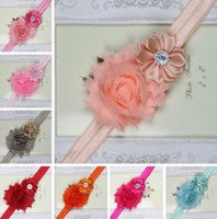 Wholesale 2016 New baby newborn infant kid Rhinestone Headband Hairband Baby Girls shabby Flowers Headbands Kids Hair Accessories Baby Christmas Gift