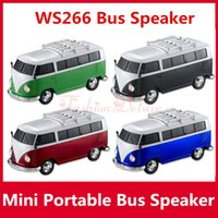 bass car stereo - Portable Bus Speaker WS Mini Stereo Car Speakers Subwoofer Deep Bass Car Speaker Support TF Card USB Bulit in Battery MP3 Player ws266