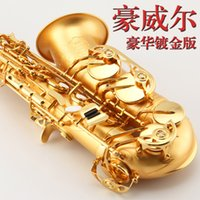 Wholesale Alto Saxophone Eb Flat Top Musical Instrument Drop E Saxophone Surface Gilding Sax Professional Good Quality Saxofone With Case