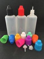 al por mayor botellas cuentagotas punta de la aguja-Botellas de plástico de jugo E PE botellas de gotero de 120 ml con botellas de prueba de niño y puntas de aguja E botellas de gotero líquido