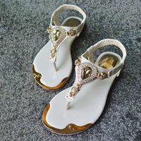 Wholesale The summer Princess diamond gem tide sandals clip toe shoes and elastic flat