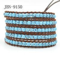 asian weave - 2016 new arrival Genuine leather X wrap bracelets Woven with mm natural turquoise beaded handmade jewelry Charms bracelet bangle JBN
