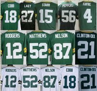 Wholesale Green Bay Aaron Rodgers Jordy Nelson Clay Matthews Randall Cobb Eddie Lacy packers jerseys green white size small S XL