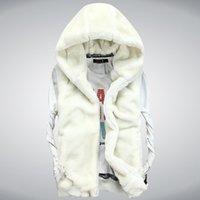 Wholesale The new men s winter imitation mink fur cotton vest Korean couple velvet mink hooded vest waistcoat jacket tide four color five yards