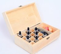 Wholesale Essential Oil Wooden Storage Box holes ml ml bottles handmade Multifunction partition Natural pine wood without paint