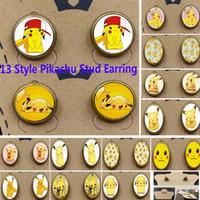 anime earrings men - New Poke Pikachu Stud Earrings Unisex Cartoon Action Anime Figure Alloy Time Gemstone Earrings Women Men Jewelry Gifts SZ S13