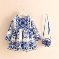 Cheap 15 Colors Style Cartoon European Girls Dress with Handbag Cotton Kids Clothes Party Tutu Dresses Children Girl Cotton Clothes 5 Pcs lot A