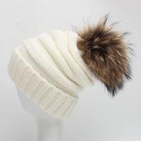baby teenager - Teenager Autumn Winter Raccoon Knit Fur Hat Big Girls Boys Fur pompoms Ball Baby Beanies Cap Junior Crochet Knitted Christmas Hats