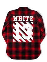 Wholesale off white red black flannel shirt plaid shirt