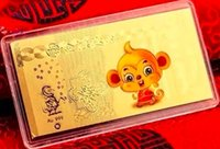 Wholesale Small New Year of the monkey bars g creative gift real gold plating small red envelopes