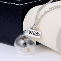 Wholesale Crystal Ball Real Dandelion Seed Wishing Wish Necklace Long Silver Chain