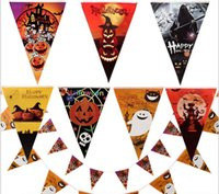 Wholesale Horror Halloween decoration paper triangle flag pennant banner carnival garland skull bat ghost spider scary clubing bar shop party decor