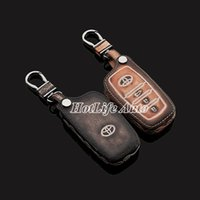 auto accessories toyota corolla - For Toyota Corolla Camry Highlander Reiz Car Keychain Genuine Leather Carve Car Key Case Cover Key Chain Auto Accessories