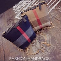 Wholesale 2016 European and American style fashion women plaid canvas chains shoulder bags messenger bags leisure bags two colors AGY