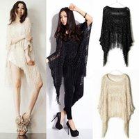 batwing jumper knitwear - New Womens Loose Sweater Poncho Tassels Batwing Cape Cloak Knitwear Top Hollow Jumper