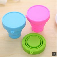 Wholesale Candy color portable travel silicone folding cup outdoor sports stretching rinse cup three colors imported silicone