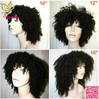 Wholesale Short Afro Full Lace Human Hair Wigs With Baby Hair Brazilian Afro Kinky Curly Lace Front Wig With Bangs None Lace Wig
