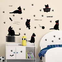Cute Black Cat Footprint Wall Sticker Animal Wallpapers Cartoon Home Room Living Room Kids Nursery Stickers muraux amovibles