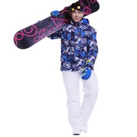 Wholesale Snowboard men skiing suit sets waterproof windproof warm ski sets jackets and pants for men snow clothes