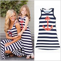 Wholesale 2016 New Family Matching Outfits Mother and Daughter Family Clothing Set Kids Girls Casual Sweat Dress Mom Baby Matching Dresses Two Pics