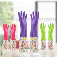 Wholesale L Size Synthetic Rubber with Flocking Winter Keep Warm Work Gloves Household Tools Waterproof Cleaning Glove