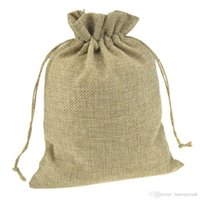 Wholesale 15x20cm handmade gift bags Custom Drawstring Pouches Jute bags burlap package bags for Weddings Parties