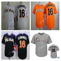 baseball wear - Marlins Jose Fernandez Black Baseball Jerseys Hot Sale Men Baseball Wears High Quality Baseball Uniform White Black Orange Grey