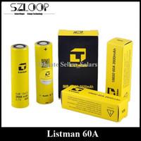 Authentic Listman 60A LITHIUM 3.7v 2600mAh Flat Top Li-sur batterie 18650 hauts décharge de batterie en forme E Cigarettes Sigelei 213