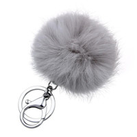 Wholesale Retal Soft Real Rabbit Fur Ball Metal Key Chains Ball Pom Poms Plush Keychain Car Bag Pendant Key rings