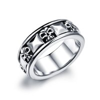 Wholesale Cool Man Jewelry Finger Ring Stainless Steel Vintage Jewelry Skull Ring For Men Black Punk Ring AGJ487