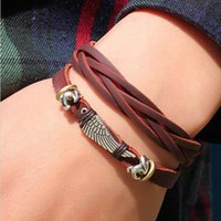 asa box - bracelet ladies Men s Bracelet Leather Braided Legitimate Angel Wing Pulseira Masculina Couro Asa De Anjo