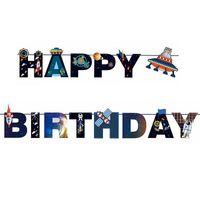 alien paper - UFO Alien Outer Space Unique Happy Birthday Banner Kid Birthday Party Decoration Supplies